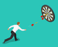 Businessman hitting the center of target. Aiming for a high target concept. Business idea concept. Flat 3d isometric Royalty Free Stock Photo