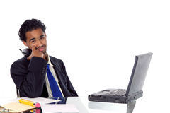 Businessman on hold. Businessman waiting for your on hold Royalty Free Stock Images