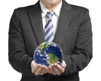 Businessman hold ball with global map isolated in white backgrou Royalty Free Stock Photography
