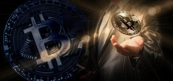 Businessman hold bitcoin, crypto currency conceptual, new genera. Tion of global currency stock photography