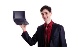 Businessman hold black netbook Stock Photos