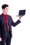 Businessman hold black netbook Royalty Free Stock Photography