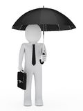 Businessman hold black umbrella Royalty Free Stock Photos