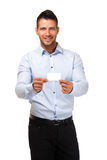 Businessman hold a blank businesscard. Happy man gives a card Stock Images