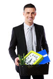 Businessman hold box with personal belonging Stock Images