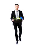 Businessman hold box with personal belongings Royalty Free Stock Images