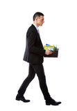 Businessman hold box with personal belongings Stock Images