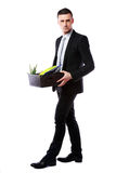 Businessman hold box with personal belongings Stock Photography