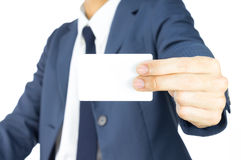 Free Businessman Hold Business Card By Two Finger At Side Isolated On White Background Stock Photos - 49569483
