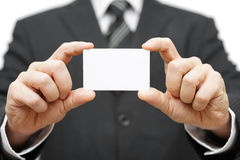 Businessman hold business card , company identity Stock Images