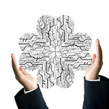 Businessman hold circuit board in heart shape Royalty Free Stock Images
