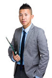 Businessman hold clipboard Stock Image