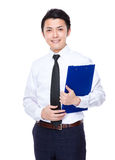 Businessman hold with clipboard Royalty Free Stock Images