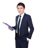 Businessman hold with clipboard Stock Photography