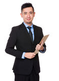 Businessman hold with clipboard Stock Images