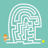 Businessman hold compass go to the maze Stock Images