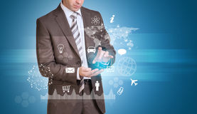 Businessman hold empty copy space. Network, icons Stock Photos