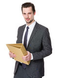 Businessman hold with file document Stock Images