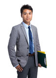 Businessman hold with file pad Royalty Free Stock Images