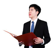 Businessman hold the files stock images