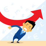 Businessman Hold Financial Graph Red Arrow. Negative Fall Down Flat Vector Illustration Stock Image