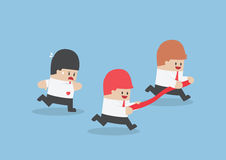 Businessman hold finish line away from his rival. VECTOR, EPS10 Stock Images