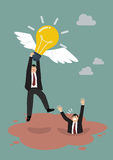 Businessman hold flying lightbulb get away from quicksand Royalty Free Stock Photos