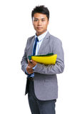 Businessman hold folder Royalty Free Stock Photography