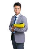 Businessman hold folder Royalty Free Stock Photography