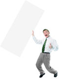 Businessman hold in hand big white poster Stock Images