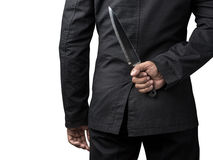 Businessman hold on knife Stock Photos