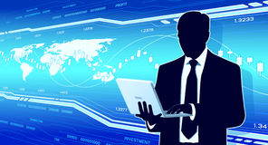 Businessman hold laptop Stock Image