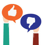 Businessman Hold Like and Unlike Speech Bubble. Icon Stock Photos