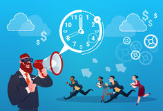 Businessman Hold Megaphone Business People Group Run Clock Businesspeople Time Deadline Concept. Flat Vector Illustration Stock Photos