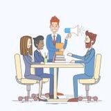 Businessman Hold Megaphone Loudspeaker Colleagues Business People Team Group Working Desk Royalty Free Stock Image