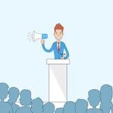 Businessman Hold Megaphone Loudspeaker Stand Tribune Speech Royalty Free Stock Image