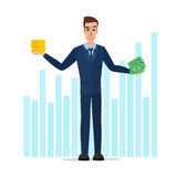 Businessman Hold Money banknotes and coins. Business cartoon Stock Photos