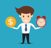 Businessman hold money and clock. Concept Royalty Free Stock Image