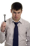Businessman hold old key Royalty Free Stock Photo