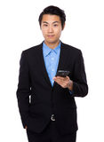 Businessman hold with phone Stock Photos