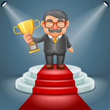 Businessman hold prize win award in hand light podium stage ceremony illuminated 3d cartoon design vector illustration. Businessman hold prize win award hand Stock Photography