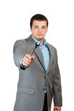 Businessman hold screw key Stock Image