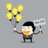 Businessman hold the sign for sale idea lamp Royalty Free Stock Image