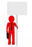 Businessman hold signboard. Businessman with briefcase and red hold signboard Stock Photo