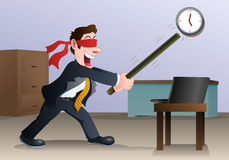 Businessman hold stick try to hit laptop stock illustration
