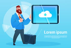 Businessman Hold Tablet Computer Cloud Database Icon. Flat Vector Illustration Stock Images