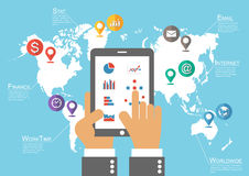 Businessman hold tablet and world map with location pointer ( Infographic vector ) Royalty Free Stock Photo