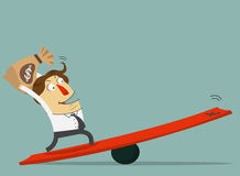 Free Businessman Hold The Money Bag And Stand On The Lever. The Way To Success With His Money. Cartoon Character Stock Image - 52201191