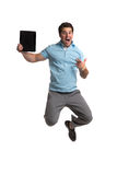 Businessman Hold Touch Pad Jumping Royalty Free Stock Photos