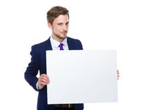 Businessman hold with white board Stock Photography